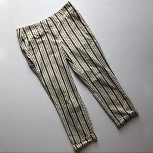 Loft NWOT Roll Cuff Girlfriend Pinstripe Ivory Nav